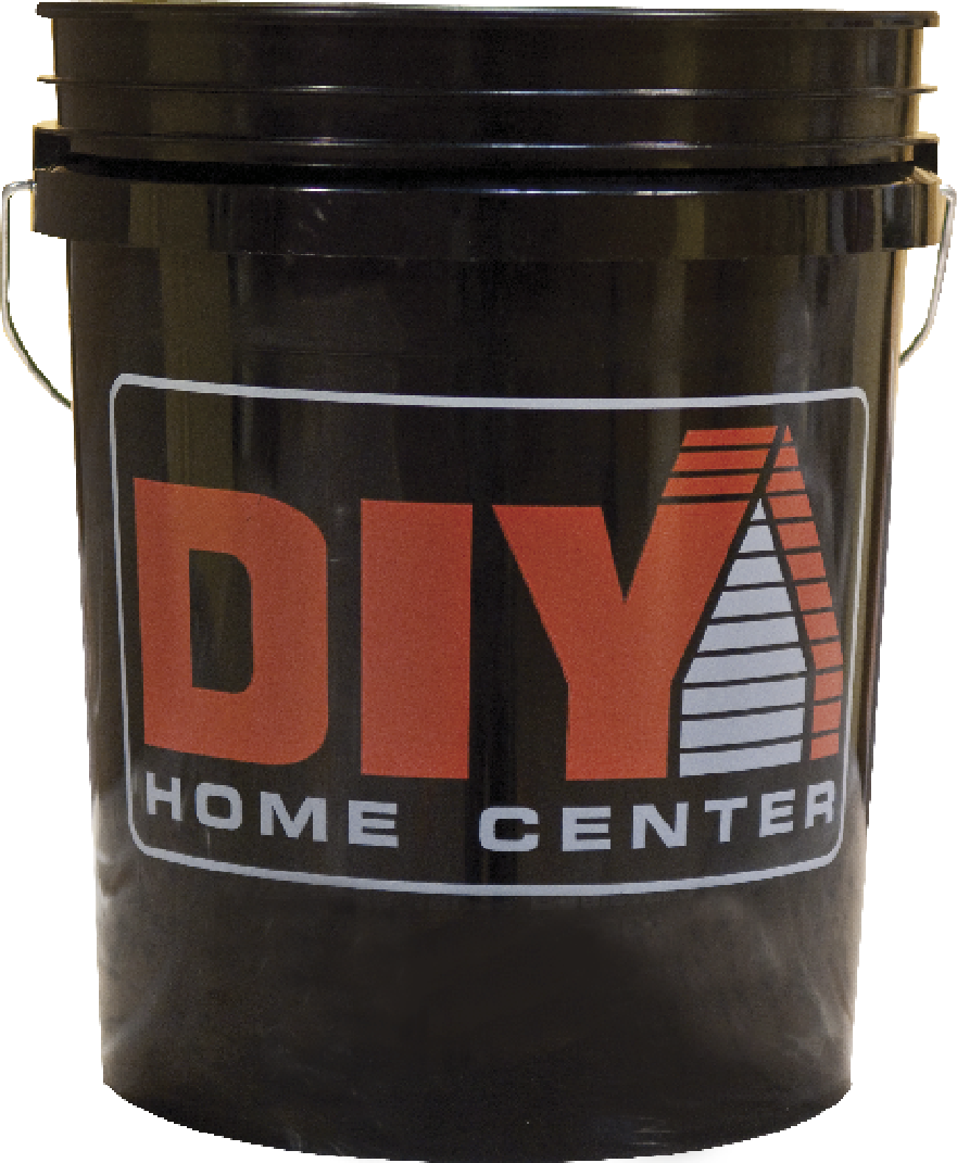 $4.49 - 5 Gal. Plastic Pail.  Ideal for large painting or cleaning jobs. Features a steel handle with plastic grip. Lid sold separately. (444750)