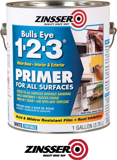 $22.99  1 Gal. Bulls Eye 1-2-3® Primer Sealer Stain Killer Primer preps for paint, blocks stain & odors on surface. Resists blistering & mold & mildew growth. Ultra-low odor water based primer dries to touch in 35 minutes.  No. 2001 (480322)