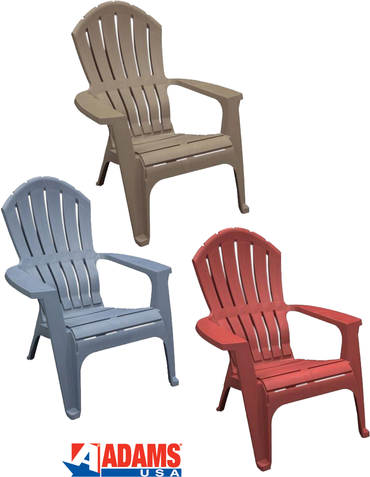 $18.99 each - RealComfort® Adirondack Chair - Portobello/Bluestone/Merlot  Featuring a SafetyGrip® foot design for enhanced traction & stability. (721459/67/68)
