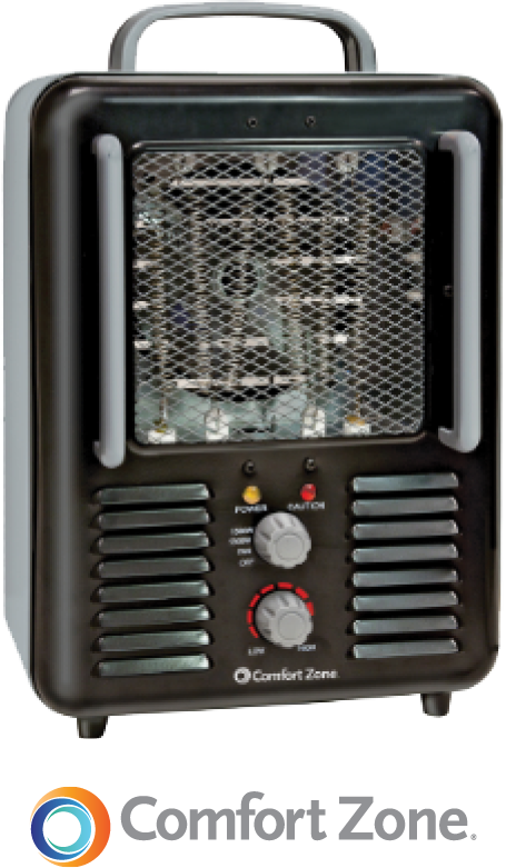 26.99 Deluxe Milkhouse Utility Heater Three settings. 1300/1500 Watts, fan only. Durable metal housing. Adjustable thermostat. Safety tip-over switch. No. CZ798BK (744674)