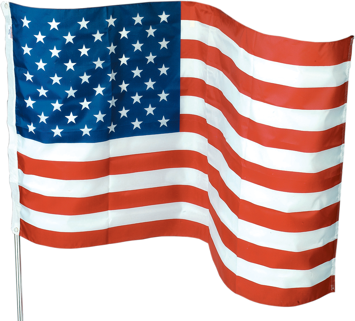 $8.99 3' x 5' American Flag Kit Includes 6', 3 section metal pole, flag clips, screw & mounting bracket. No. US1-1 (762390)