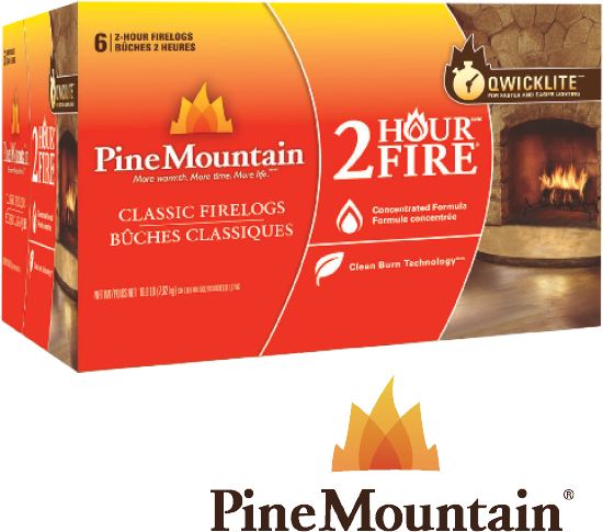 14.99  6 Pk., 2 Hr. Pine Mountain® Logs. Lights easily & quickly.  Fire logs are greener & burn cleaner than cordwood. (777277)